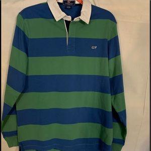 Vineyard vines men's striped cotton rugby shirt M